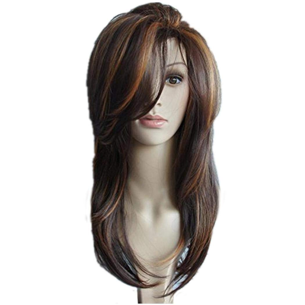 GuGio Charming Long Straight Wigs for Women Daily Natural Curls Wig