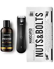 MANSCAPED™ Nuts and Bolts 3.0, Men's Grooming Kit, Includes The Lawn Mower™ 3.0 Ergonomically Designed Powerful Waterproof Trimmer, The Crop Preserver™ Ball Deodorant and Disposable Shaving Mats