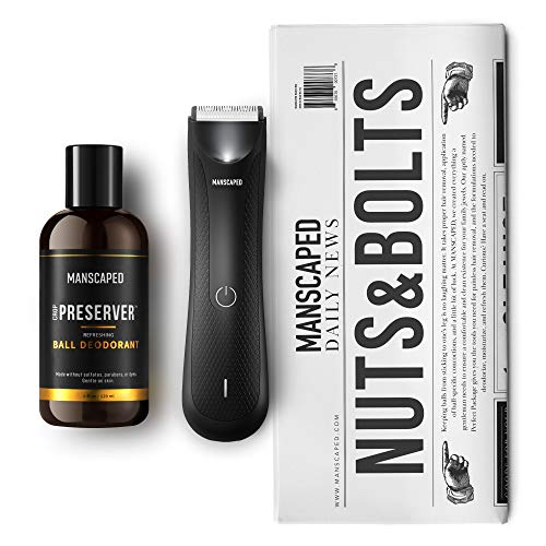 MANSCAPED™ Nuts and Bolts 3.0 Men's Grooming Kit, Includes Ergonomically Designed Powerful Waterproof Lawn Mower™ 3.0 Electric Trimmer, Crop Preserver™ Ball Deodorant Plus Disposable Shaving mats