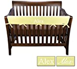 Personalized Embroidered Name Trend Lab Crib Wrap Rail Guard for Long Rail, Yellow