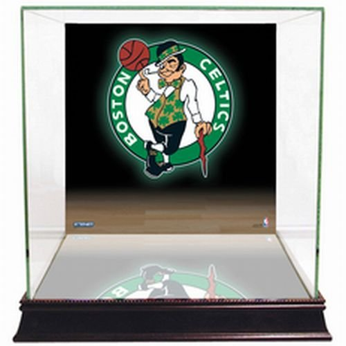 NBA Boston Celtics Glass Basketball Display Case with Team Logo -