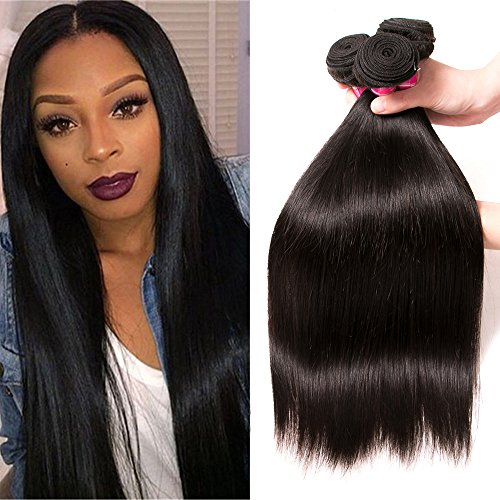 Brazilian Virgin Hair Straight 4 Bundles 100% Unprocessed Virgin Remy Human Hair Extensions Brazilian Hair Weave Bundles Natural Color (18 20 22 24) by QinMei