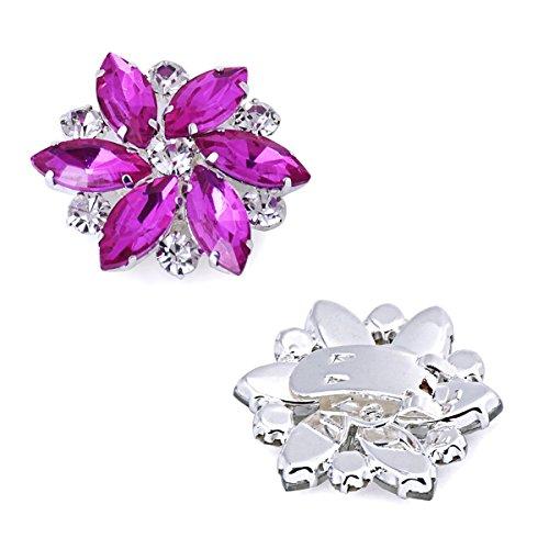 ElegantPark AJ zapatos de boda de vestir Accesorios Cristales Desmontable zapato Clips 2 Pcs Fuchsia