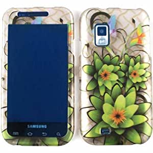 ACCESSORY MATTE COVER HARD CASE FOR SAMSUNG FASCINATE MESMERIZE I500 TRANS THREE GREEN FLOWERS