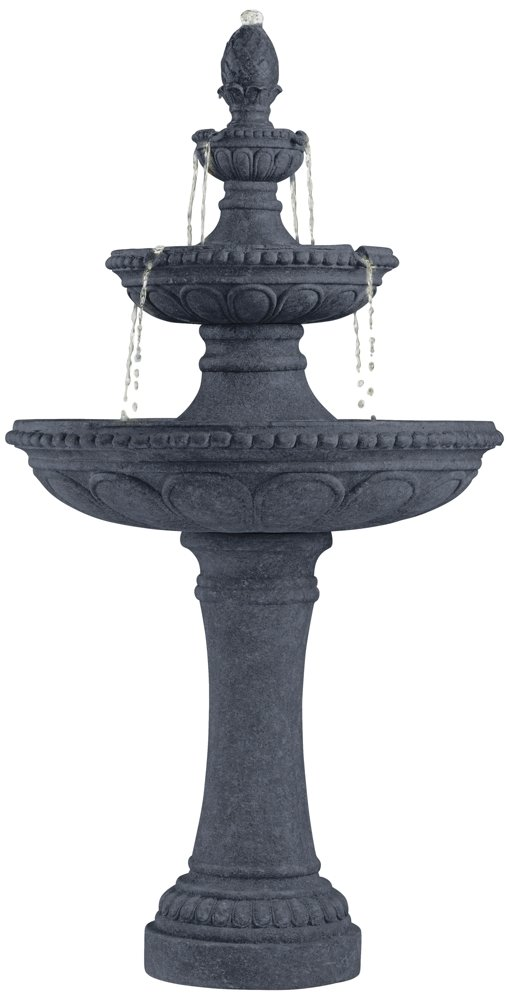 Pineapple 44'' High Grey Stone 3-Tier Outdoor Fountain