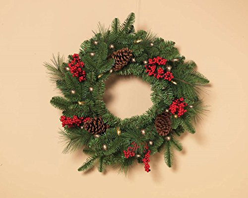 Pre-lit battery operated outdoor Christmas Wreath Pine Cone and Berries