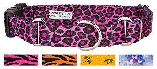 Country Brook Design | Pink Leopard Print Martingale with Deluxe Buckle - Large