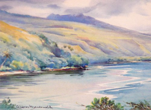 """From Flower Point"" Zane Grey Fishing Camp, Tahiti by William Alister MacDonald"