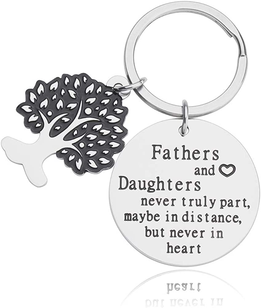Dad Keychain Present from Daughter Fathers Day for Daddy Papa Thank You Present Fathers and Daughters Never Truly Part Dad Daughter Birthday Present for Men Dad Grandfather Key Ring