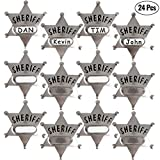Silver Metal Sheriff Badge (Pack Of 24) With Space And Stickers For Personalized Name, For Kids Party Favors, Giveaways And More,