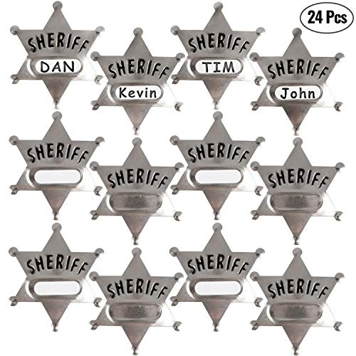 Silver Metal Sheriff Badge (Pack Of 24) With Space And Stickers For Personalized Name, For Kids Party Favors, Giveaways & More]()