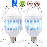 Bug Zapper Light Bulb E26/E27, 2 in 1 Electronic Mosquito Fly Killer Lamp, Built in Insect Trap, LED Light Repellent Lamp Indoor Outdoor Camping Travel Home Garden, 15w, Pack of 2, 110V