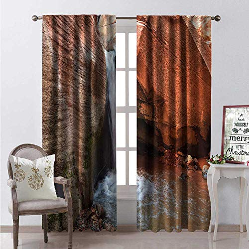 (Hengshu Zion National Park Room Darkening Wide Curtains Waterfall Scene from Sandstone Cliff Formation Decor Curtains by W72 x L108 Pale Vermilion Pale Rust and White )