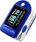 Finger Pulse Oximeter by Facelake, Model FL-350 with One-Year Warranty, FREE Carrying Case & FREE Batteries, USA Seller Blue
