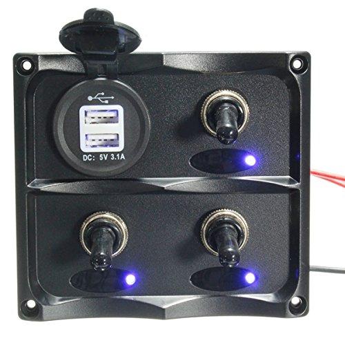 CoCocina 12V-24V 3 Gang LED Toggle Switch Panel & USB Socket Charger For Caravan Boat (Holder 15 Amp Panel Mount)