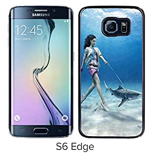 Unique And Lovely Designed Case For Samsung Galaxy S6 Edge With walking shark Black Phone Case
