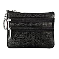 Feoya Genuine Leather Small Coin Purse Card Holder Key Ring Change Wallet, Black