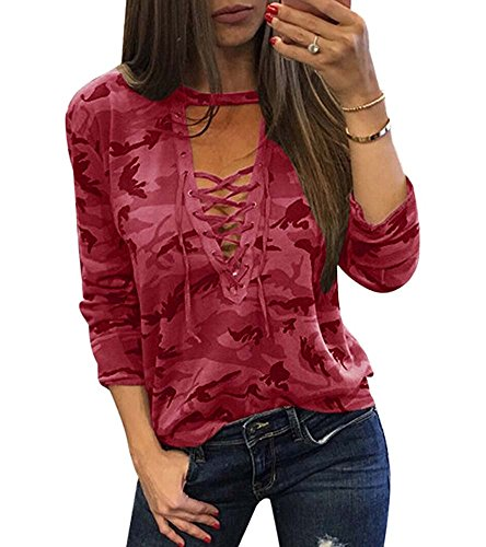 manches sexy Col Tops Blouses femmes Vin Loose V Shirts de Choker longues Casual Up Camouflage Rouge Lace q1HwxX
