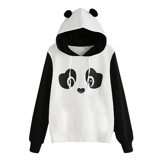 6f83575779 FDelinK Womens Colorblock Hoodies Panda Printed Hooded Sweatshirt Pullover  Tops Jumper (White