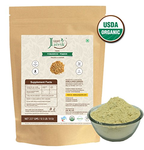 Just Jaivik 100% Organic Fenugreek Powder- 0.5 LB/227g/08 oz- USDA Certified Organic - Trigonella Foenum Powder- Methi Powder
