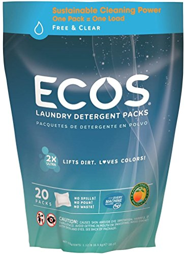 Earth Friendly Products ECOS Laundry Detergent Packs, Free and Clear, 20 count, 17.98 oz