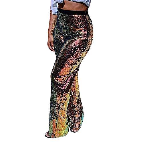 (Orangeskycn Fashion Women Pants Sequin Straight Trousers Sparkle Pants)