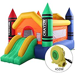 JAXPETY Inflatable Crayon Moonwalk Bounce House With Slide Bouncer Jumper Bouncer Castle With Blower