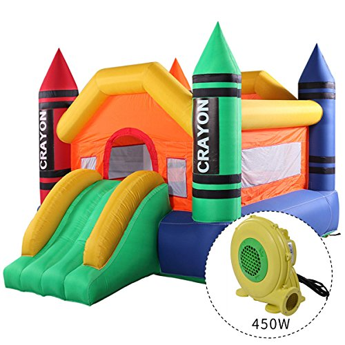 - JAXPETY Inflatable Crayon Moonwalk Bounce House With Slide Bouncer Jumper Bouncer Castle With Blower