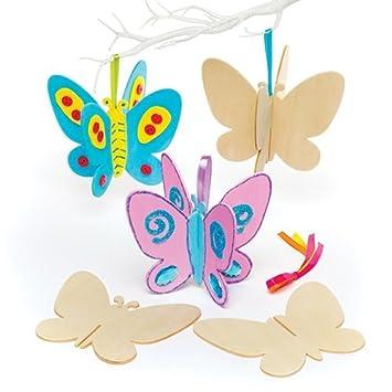 Mariposas 3D de Madera Que los niños Pueden Crear y Decorar - Juego de Manualidades Infantiles Divertidas (Pack de 6): Amazon.es: Juguetes y juegos