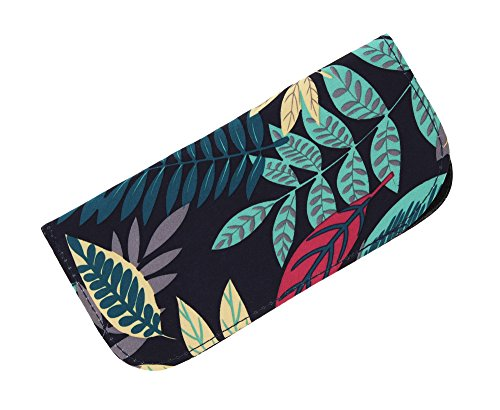 Soft Slip In Eyeglass Case For Women - Tropical Botanical Print on - Cute Sunglasses Case