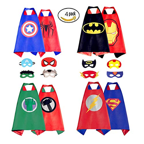 Comics Cartoon Dress Up Costumes Double- Sides Satin Capes With Felt Masks For Kids,(4Capes, 8 Mask) -