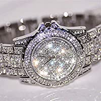 Gotd New Women Watches Rhinestone Ceramic Crystal Quartz Watches Lady Dress Watch Birthday Gifts (Silver)