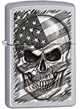 Death Skull behind American Flag Satin Chrome Zippo Lighter