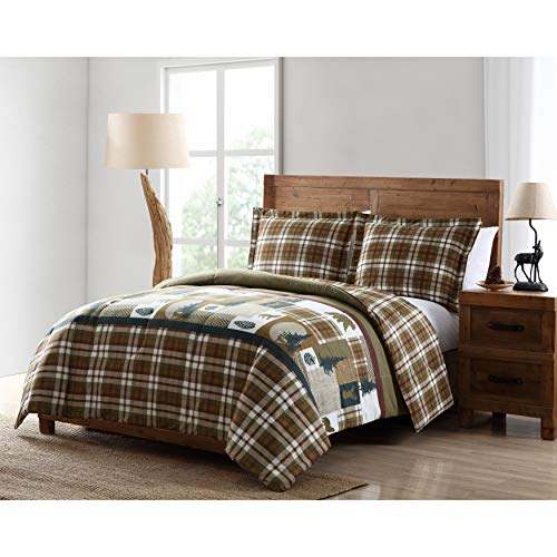 (Cabin Plaid Comforter Set King Size - Brown, Green Bear Deer Wolf Patchwork Print - 3 Piece Bed Sets - Country Lodge Style Checkered Bedding, Rustic Cottage Bedroom - Ultra Soft Microfiber)