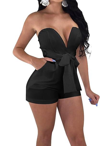 ce50d56ce2a9 TOB Women s Sexy Deep V-Neck High Waist Belt Club Romper Short Jumpsuit  Black