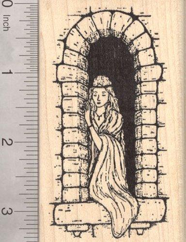 - Castle Princess Rubber Stamp, Fairytale Maiden, Renaissance