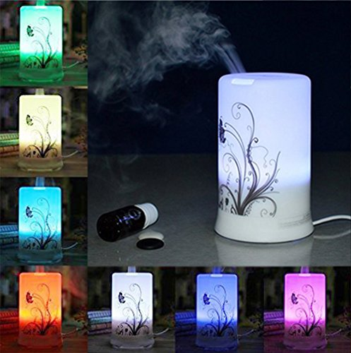 RioRand Air Humidifier Oil Essential Purifier Aroma Diffuser 100ml Aromatherapy with 4 Timer Settings & 6 Colors Changing Light