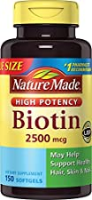 Nature Made Biotin Value Size Liquid Softgel, 2500 mcg, 150 Count (Packaging May Vary)