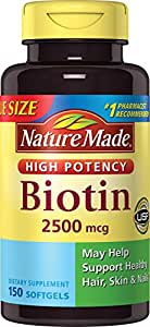 Nature Made High Potency Biotin (B7) 2500 mcg. Softgels Value Size, 150 Count