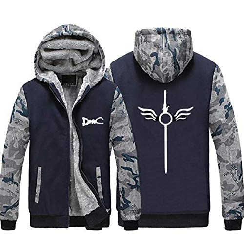 NSOKing Hot Devil May Cry 5 DMC Dante Winter Fleece Jacket Sweatshirts Thicken Hoodie Coat (Large, Blue) (Dmc Dante Coat)