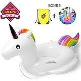 Whiteleopard Baby Pool Float, Unicorn Inflatable Rafts Swim Ring Swimming Pool Toys for Kids- Bonus Carry Bag & Flamingo Drink Float