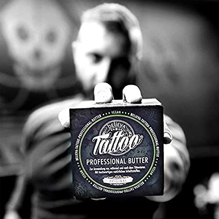 Believa Tattoo crema de mantequilla profesional - Mantequilla vegana para el cuidado del tatuaje (100ml)