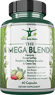 Mega Blend - Garcinia Cambogia, Raspberry Ketone, Green Coffee Bean, Green Tea Extract (Caffeine) - Extremely Powerful, Supports Weight Loss and Fat Burning - Sixty (60) 1300mg Capsules - Made in USA