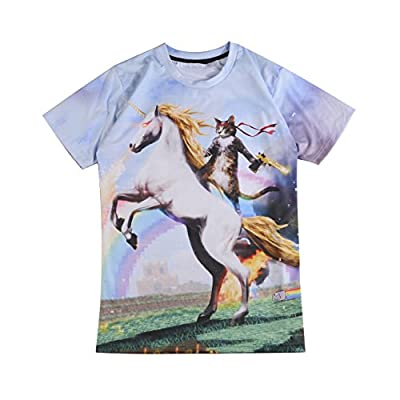 TENGBOKY Funny Cat Riding Unicorn with Gun Mens Cool T Shirts(Size Run Small)