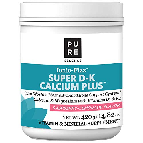 Pure Essence Ionic Super D-K Calcium Plus by Pure Essence - With Extra Magnesium, Vitamin D3, Vitamin K2 For Strong Bones and Stress Relief - Raspberry Lemonade - 14.82oz