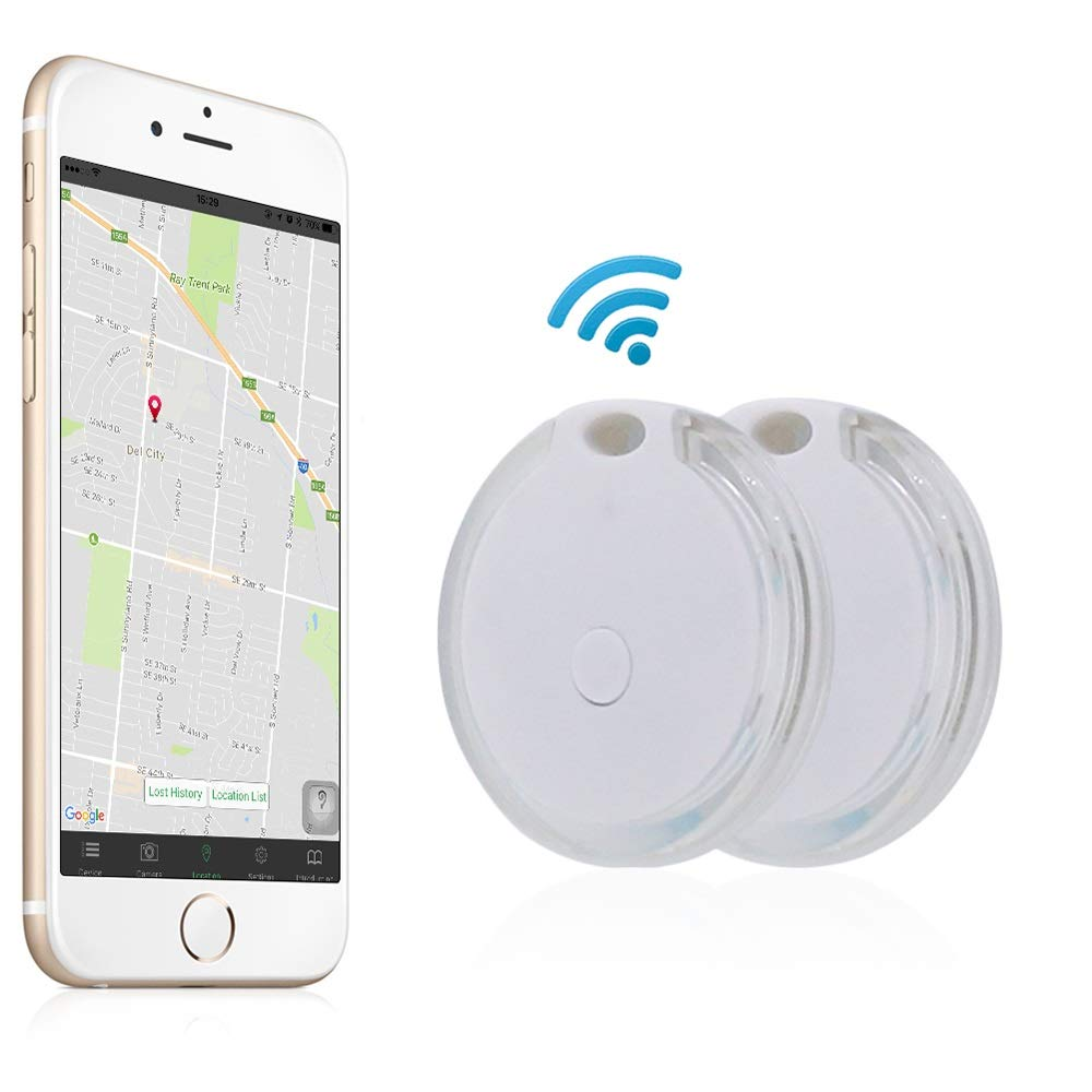 Tracker, Effeltch Smart Key Phone Wallet Finder Locator GPS Tracker Anti Lost Alarm with Selfie Shutter for IOS, Android Smartphone (Transparent white)