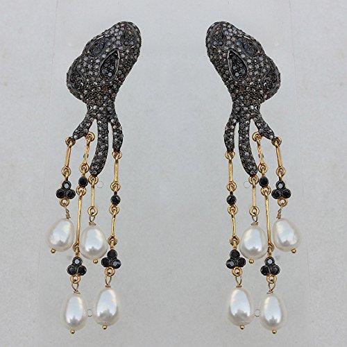 Genuine Pearl Gemstone Octopus Design Chandelier Earrings Solid 14k Yellow Gold Handmade 925 Sterling Silver Vintage Style Jewelry ()
