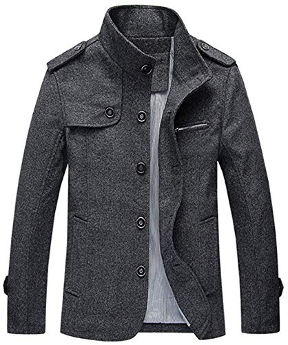 (chouyatou Men's Military Stylish Single Breasted Natural Fit Stripe Lined Wool Pea Coats (X-Large, Dark)