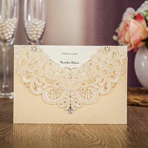 Wishmade 50x Gold Laser Cut Flora & Lace Wedding Invitations Kit With Rhinestone Matched With RSVP & Thank You Card CW6115 (Invitations Rhinestone Wedding)