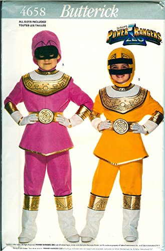 Butterick 4658 Power Ranger Pink, Yellow Childs Costume Pattern All Sizes xs to L (4 To 14) (Power Ranger Halloween Costume Pattern)